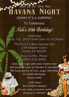 Latin Wording Havana Nights Birthday Invite Digital