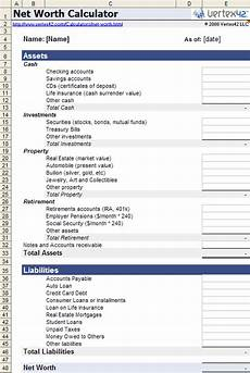 Net Worth Statement Format For Individual Net Worth Calculator For Excel