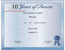 Years Of Service Certificate A Printable Certificate Thanking The Recipient For Any