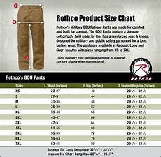 Bdg Pants Size Chart Bdu Shirt And Pant Size Charts Surplus Nation