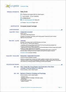 Curriculum Vitae Example Europass Curriculum Vitae Writing Tips Resumeviking Com