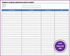 Parent Conference Sign In Sheet Parent School Meeting Sign In Sheet Template Excel