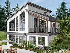 Modern House Floor Plans Free Modern Vacation Home Plan For The Sloping Lot 22522dr