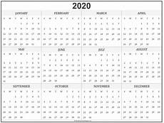 2020 Yearly Calendar Word 2020 Year Calendar Yearly Printable