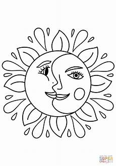 Kostenlose Malvorlagen Sonne Trippy Sun And Moon Coloring Page Free Printable