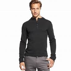sleeve henley shirts for vince camuto sleeve henley shirt in black for lyst