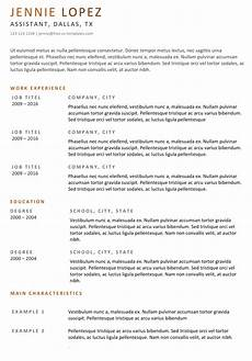 Characteristics For Resume Traditional Cv Templates Land The Job With Our Free Word