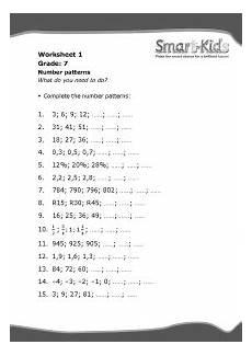 grade 7 maths worksheet number patterns smartkids