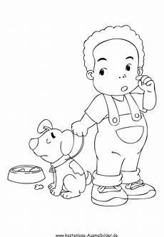 ausmalbild junge mit hund zum ausdrucken