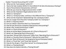 Interview Questions Accounting Interview Questions And Answers For Sap Financial Accounting