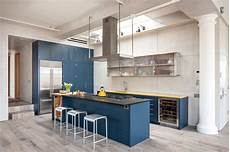 Contemporary Blue Royal Blue Kitchen On Light Color Floors Is A Modern