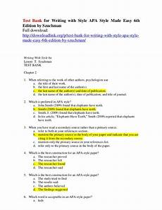 Apa6 Style Test Bank For Writing With Style Apa Style Made Easy 6th
