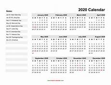 Download Yearly Calendar 2020 2020 Yearly Calendar With Holidays Printable Qualads