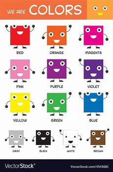 Basic Color Chart For Kids Kids Basic Colors Chart Royalty Free Vector Image