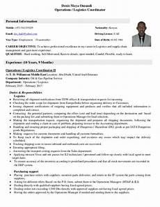 Logistic Coordinator Cv Cv Operations Amp Logistics Coordinator 27 01 2017 Pdf