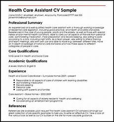 Care Worker Personal Statement Cv Template Healthcare Health Care Assistant Assistant