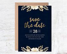 Wedding Save The Date And Invitations Gold Save The Date Save The Date Template Wedding