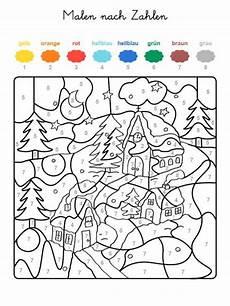 kostenlose malvorlage malen nach zahlen winterzauber