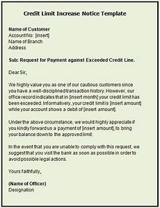 Letter For Increase Credit Limit Credit Limit Notice Templates 11 Free Word Amp Excel Formats
