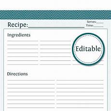 recipe card template for pages recipe card page fillable printable pdf instant