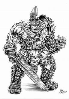 Malvorlagen Ragnarok Mike Ratera Original Drawing Gladiator Thor