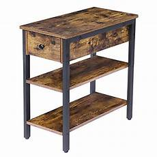Hoobro End Table Rustic Side Table With 3 Tier Shelf by Hoobro Side Table 3 Tier Nightstand With Drawer And 2