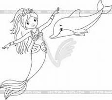 Malvorlage Meerjungfrau Mit Delfin Meerjungfrau Und Delphin Malvorlagen Stock Vektor Bild