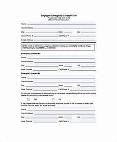 Employment Contact Form Free 8 Emergency Contact Form Samples In Pdf Ms Word