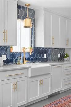 blue tile kitchen backsplash navy blue hex backsplash fireclay tile