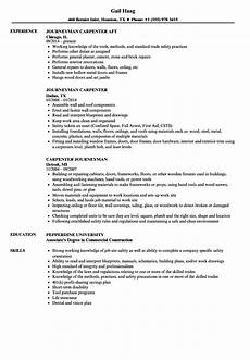 Carpentry Resume Sample Journeyman Carpenter Resume Samples Velvet Jobs