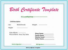 Official Blank Birth Certificate Template 5 Birth Certificate Templates Excel Pdf Formats