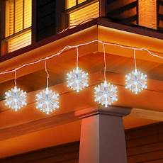 Outdoor Snowflake Christmas Lights String Holiday Time 5 Count Led Snowflake Icicle String Christmas