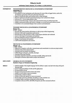 Resume For Engineering Internship Mechanical Engineering Internship Resume Samples Velvet Jobs
