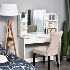 homcom wood dressing table w mirror big drawers open
