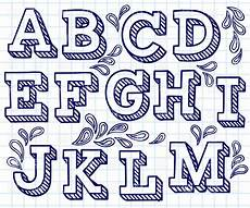 Block Letter Styles Hand Drawn Font Shaded Letters And Decorations 29198