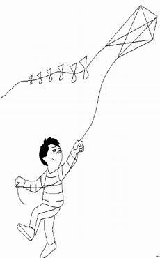 Ausmalbilder Drachen Steigen Junge Laesst Drachen Steigen 3 Ausmalbild Malvorlage Sport