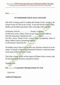 Noc Certificate Format Noc Letter Format From Society For Electricity Meter Transfer