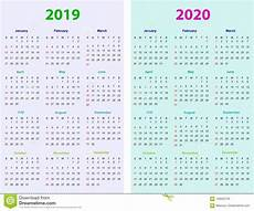 12 Months Calendar 2020 Printable 12 Months Calendar Design 2019 2020 Stock Vector