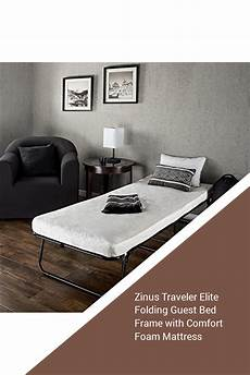 zinus traveler elite folding guest bed frame with comfort