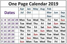6 Month Calendar On One Page One Page Calendar 2019 Interestingasfuck