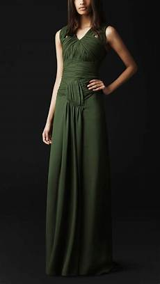 lyst burberry prorsum ruched detail silk dress in green