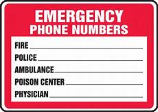 Emergency Contact Sign Emergency Phone Numbers Safety Sign Mfsd400