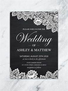 Wedding Invitations Black And White Printable Lace Wedding Invitation Black And White Invite
