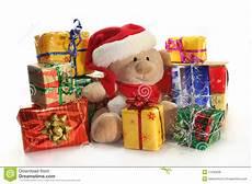 weihnachtsgeschenke stockfoto bild teddy farbband