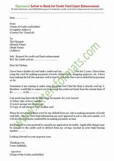 Letter For Increase Credit Limit Letter To Bank For Credit Card Limit Enhancement Increase