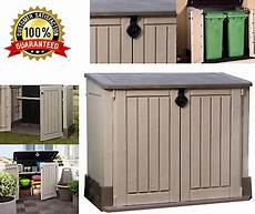 outdoor storage cabinet garden shed pool trash cans yard