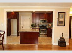 Hong Bo Hardware Supply: Dark Cherry Cabinets, Oak Floor, Bay Window, Recess Lights