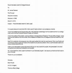 Letter Of Recommendation College Admission 12 College Recommendation Letters Doc Pdf Free