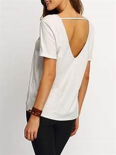 cut sleeve shirts grey sleeve v cut back t shirt shein sheinside