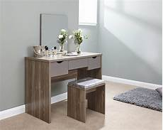 dressing table walnut and grey 3 large drawers with mirror
